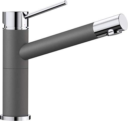 BLANCO ALTA Compact Küchenarmatur / Kompakter Einhebelmischer SILGRANIT-Look in Felsgrau-Chrom / Hochdruck