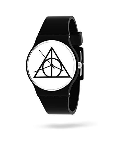 Panapop Deathly Hallows Reloj de Pulsera para Mujer con Correa Negra de Silicona, Las Reliquias de la Muerte, Harry Potter Licencia Oficial