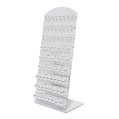 Set 36 pares de pendientes con soporte organizador. Perlas blancas hipoalergénicas en 3 tamaños. Perlitas de estilo clásico.