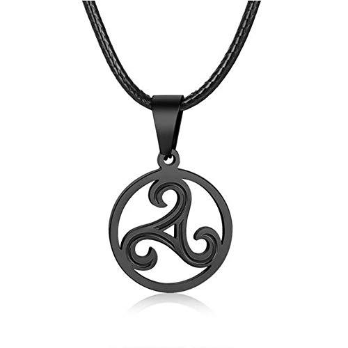 BlackAmazement 316L Edelstahl Anhänger Leder Kette Halskette Triskele Triskel Symbol schwarz Silber Damen Herren (Schwarz)