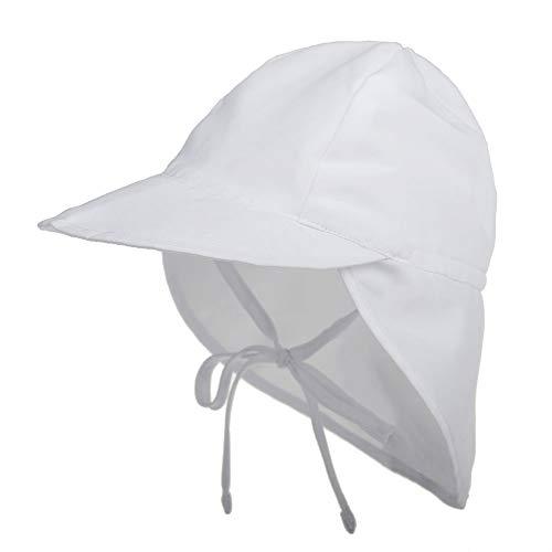 LACOFIA Sombrero de Playa de protección Solar para bebé Gorro de Verano de Solapa Ajustable Super Suave para niños Blanco 2-5 años