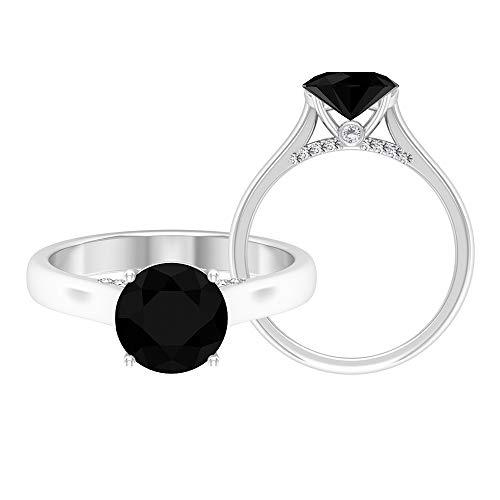 April Piedra de nacimiento — Solitario anillo redondo de 8 mm de diamante negro con moissanita 2,37 quilates, anillo de compromiso de oro macizo, 18K Oro blanco, Size:EU 50