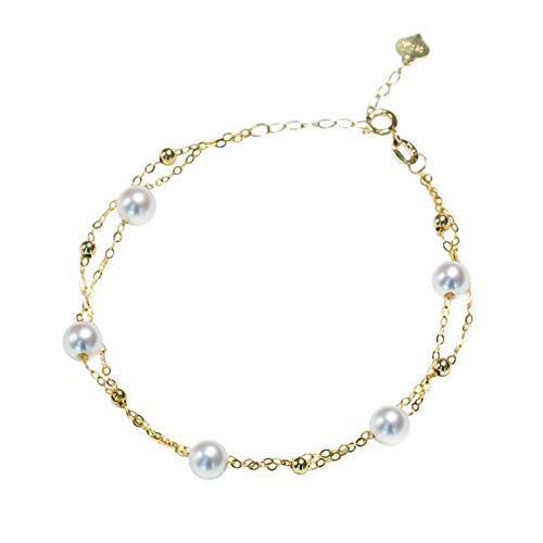 YUN Clock Sólido Oro Amarillo De 18 Quilates Delicado Perla Brazalete Delicado Cinco Perlas Multa Joyería Pulsera para Mujeres Regalos,B,5~6MM