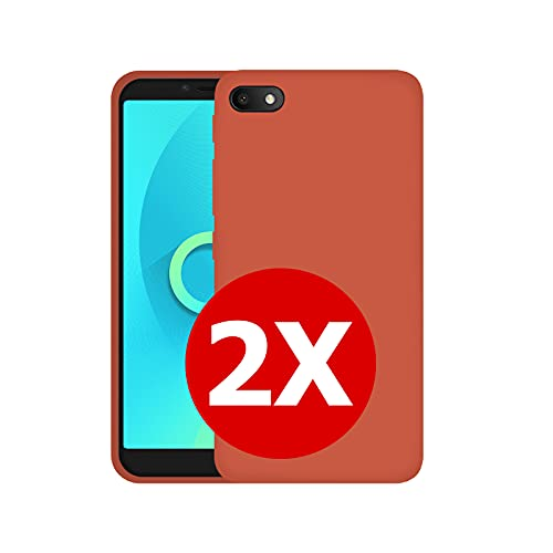 TBOC 2X Funda de Gel TPU Roja Compatible con Alcatel 1V (2019) [5.5 Pulgadas] [Pack: Dos Unidades] Carcasa Silicona Ultrafina Flexible Teléfono Móvil [No es Compatible con Alcatel 1V 2020]