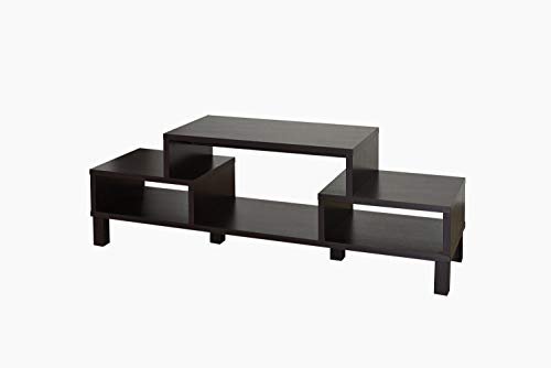 """Furniture of America Everette Modern 3 Open Shelves TV Console/Stand with Wooden Legs, 60"""", Cappuccino"""