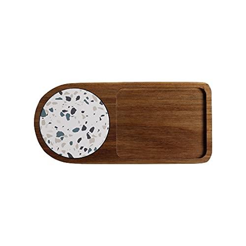 Bandeja de madera para servir platos de postre con posavasos de mármol absorbente para el desayuno, merienda, fruta, café, fiesta, restaurante (bandeja-3)