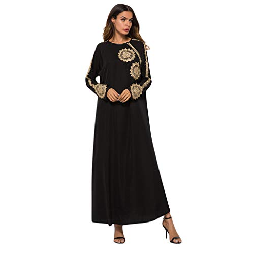 Lazzboy Moslemisches Blumenstickerei Kleid Abaya Dubai Kaftan Islamisch Muslim Normallack-Kleid Islamischer Arabischer Bedrucktes Schlankes Temperament Schlanker Moslemischer Kleidrock(L)