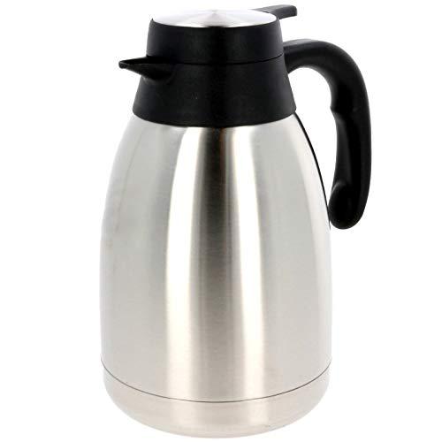 SCHOBERG Isolierkanne 1,5 L Isolierflasche Thermoskanne inkl. Einhandautomatik Kaffeekanne Teekanne Iso Edelstahl
