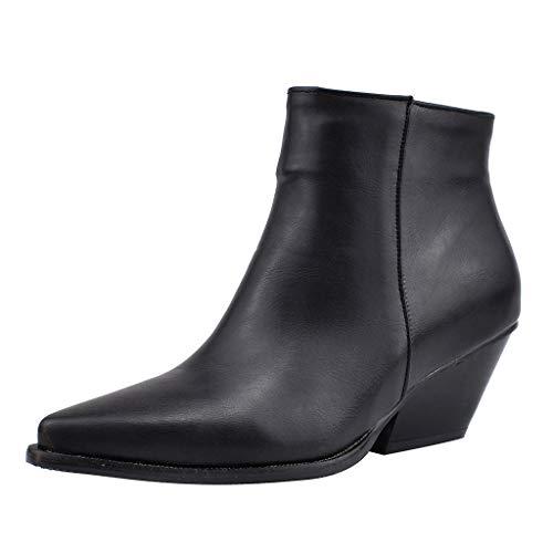 Ms·Wang Damen Leder Stiefelette Frauen Stiefel Flatform Wedge Boot Klassisch Schwarz Halbstiefel, Seitlicher Reißverschluss Frauen Stiefelette,Bootie Blockabsatz 5cm