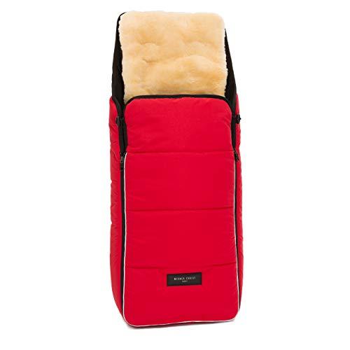 Lammfell Kinderwagen-Fußsack CORTINA von WERNER CHRIST BABY – Thermo Winterfußsack mit herausnehmbarem, echtem Fell, als Einlage für Buggy verwendbar (2-in-1) in chili red (rot)