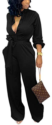 Women's Sexy V Neck Long Lantern Sleeve Business Jumpsuits Elegant Stand Collar Button Down Straight Long Pants Rompers with Pockets Waistband