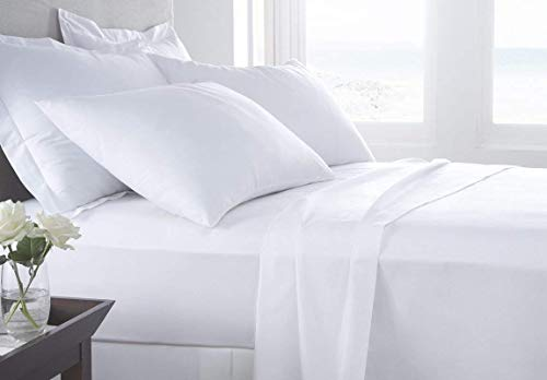 100% Pure Cotton Bed Sheets on Amazon - 4 Pc Cal-King Size White Sheet Set, Single 800-Thread-Count Long Staple Combed Cotton Yarns, Best Luxury Sateen Weave, Fits Mattress Upto 14' Deep Pocket