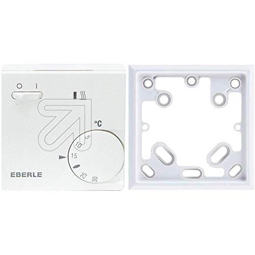 EBERLE 111110451100 Eberle RTR - E 6202 Raumtemperaturregler mit Netzschalter Ein/Aus und LED Heizen & Adapterrahmen, ARA1-E