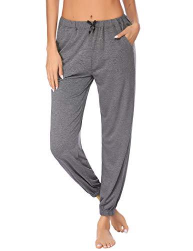 Ekouaer Pyjamahosen Damen Lang Schlafanzughose Schlafanzug Hose Hausehose Jerseyhose Loungewear Unifarbe Freizeithosen mit Zwei Taschen Grau S