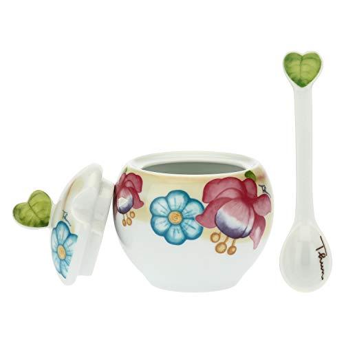 THUN ® - Zuccheriera - Linea Cerimonia Fantastica- Porcellana - con Cucchiaino - h 11,5 cm - 270 ml - cucchiaino 12,5 cm