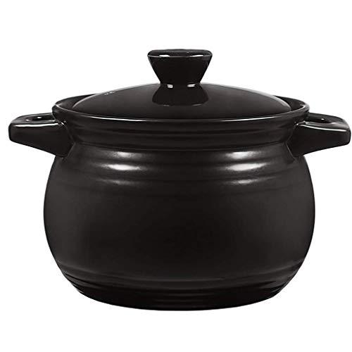 SCRFF Kasserolle aus Keramik, rund, mit Deckel, antiker Stil, Suppentopf, schwarz, für hohe Temperaturen