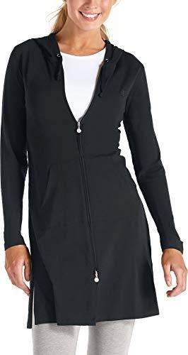 Coolibar UPF 50 Plus Zno UV Cabana Sweat à Capuche pour Femme Large Noir