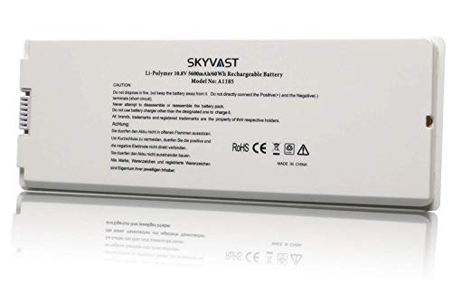 Replacement A1185 Battery for Apple Macbook 13 inch A1185 A1181 MA561 (Mid. / Late 2006, Mid. / Late 2007, Early/Late 2008, Early/Mid. 2009) [Li-Polymer 5600mAh White]