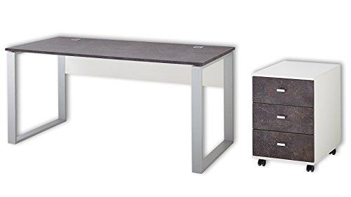 Germania Büromöbel-Set 8712-261, inklusive Schreibtisch und Rollcontainer, in Weiß/Basalto-Dunkel