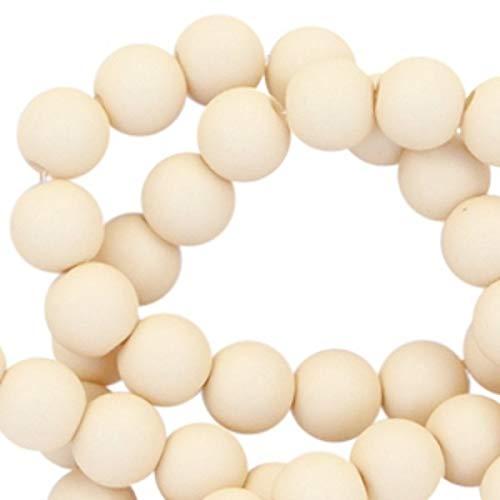 Sadingo Perlas acrílicas color beige, perlas de plástico mate, 100 unidades, 6 mm, perlas para manualidades, enhebrar – seda beige