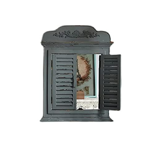 Espejo de Pared Decorativo Espejo de Acento de Granja rústico Espejo de Madera con Marco de Ventana Espejo de Pared Vintage para Entrada Dormitorio Sala de Estar Baño Cómoda