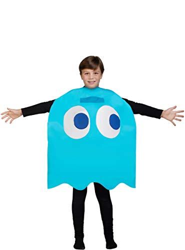 Funidelia | Disfraz de Fantasma Pac-Man Inky Oficial para niño y niña Talla 4-10 años ▶ Comecocos, Videojuegos, Años 80, Arcade - Azul