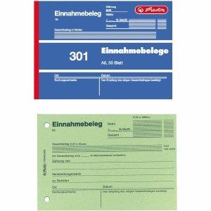 Herlitz 5 x Formularbuch Einnahmebeleg A6 301 50 Blatt
