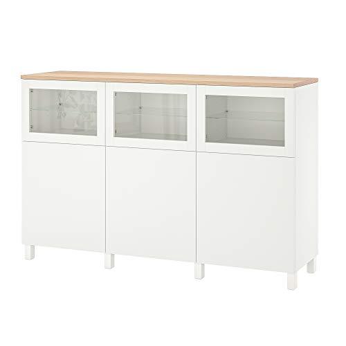 BESTÅ combinación de almacenamiento con puertas 180x42x114 cm Lappviken/Stubbarp/Sindvik vidrio transparente blanco