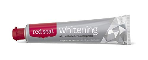 Red Seal Teeth Whitening Toothpaste with Baking Soda, Activated Charcoal Spheres, Coconut Oil for Visibly Brighter Smile – Fluoride Free, No SLS, Paraben Free