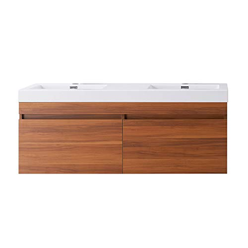 Virtu USA Zuri 55 inch Double Sink Bathroom Vanity Set in Plum w/Integrated Square Sink, White Polymarble Countertop, Single Hole Polished Chrome, No Mirror - JD-50355-PL
