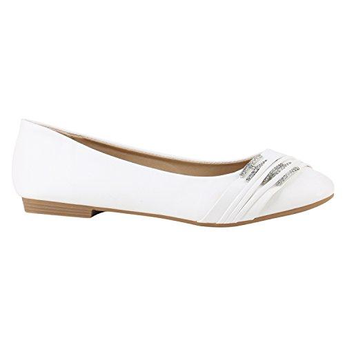 stiefelparadies Klassische Damen Schuhe Ballerinas Brautschuhe Hochzeitsschuhe Modische Strass Flats Übergrößen Hochzeit 142115 Weiss Strass Strass 36 Flandell