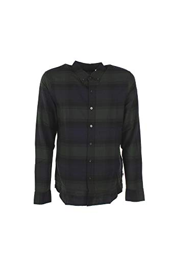 Mens Levis Pacific Checked Shirt in Navy Green
