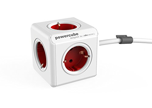 allocacoc PowerCube Extended DE, 5x Steckdosen Mehrfach Verteiler mit 1,5 m Verlängerung, 230V Schuko