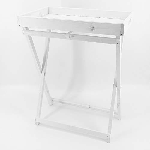 dasmöbelwerk Landhaus Tabletttisch klappbar Beistelltisch Serviertablett Klapptisch weiß