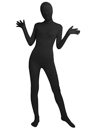Frauen-Fit Ganzanzug Spandex One Piece Ganzkörper Zentai Kostüm Lycra Bodysuit (L, black)