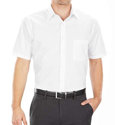 Van Heusen mens Short Sleeve Regular Fit Poplin Solid Dress Shirt, White, 16.5 Neck Large US