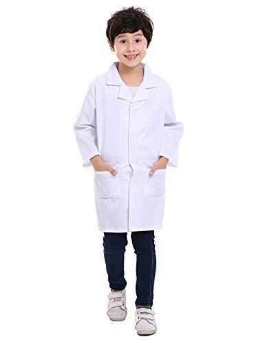 TOPTIE Lab Coat for Kid Children Scientist Role Play Halloween Costume-White-10/12