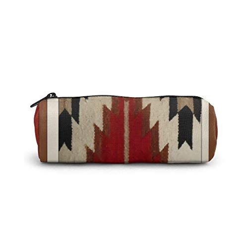 Pencil Case Tribal Native American Red Hue Print Pen Stationery Pouch Bag Cosmetic Makeup Bag Toiletry Bag Cylinder Cosmetic Bag for Student Office College