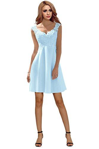 Milano Bride Elegant V-Ausschnitt Spitze Chiffon Hochzeitskleider Brautkleider Brautmode Damen Festkleider Rueckenfrei -38-Hellblau Kurz