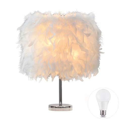 LIUNIAN Feather Nachttischlampe Nachttischlampenschirm Moderne Mode Federtisch Licht Schreibtisch Lampenschirm für Wohnzimmer Schlafzimmer Bar Restaurant Hotel Dekoration, Weiß