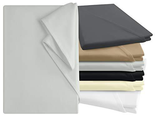 npluseins Bettlaken - 100% Baumwolle - in 6 Farben - in 3 verschiedenen Größen - Haushaltstuch ohne Spanngummi, ca. 180 x 275 cm, Silber