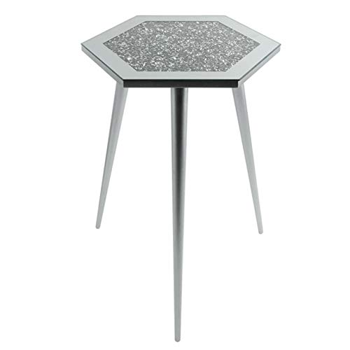 The Leonardo Collection Mirrored Glass Side Table Crystal Diamante Inlaid Top Silver Legs Hexagonal Large