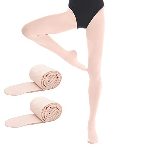 Bezioner 2 Paar Kinder Ballett Strumpfhose Tanzstrumpfhose mit Fuss fur Kinder und Damen, Apricot, 2 Paar ,S
