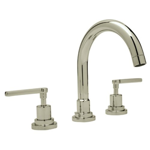 Rohl A2228LMSTN-2 Lombardia C-Spout Widespread Bathroom Sink Faucet with Lever Handles, Satin Nickel