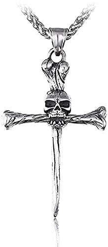 Collar para mujer Collar para hombre Collar colgante Colgante gótico Único Punk Punk Calavera con cadena de esqueleto Joyas Hombres Collar colgante Regalo para niñas y niños Collar colgante Regalo par