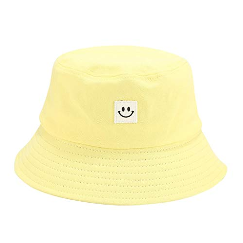 Ruinono Unise Hat Summer Travel Bucket Beach Sun Hat Smile Face Visor (Yellow, One Size)