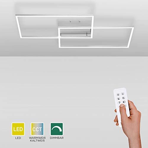 LED Deckenlampe dimmbar, 75x56, Deckenleuchte mit zwei Leuchtrahmen | Farbtemperatursteuerung mit Fernbedienung warmweiß-kaltweiß | Deckenpanel mit Memory-Funktion für Wohnzimmer und Küche