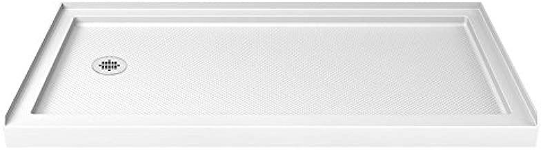 DreamLine SlimLine 32 in. D x 60 in. W x 2 3/4 in. H Left Drain Single Threshold Shower Base in White, DLT-1132601
