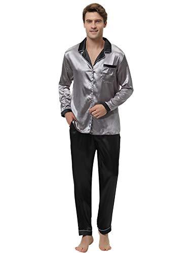 Aibrou Herren Satin Pyjama Set, Zweiteiliger Bedruckt Schlafanzug Langarm Shirt und Pyjamahose Dunkelgrau XXL