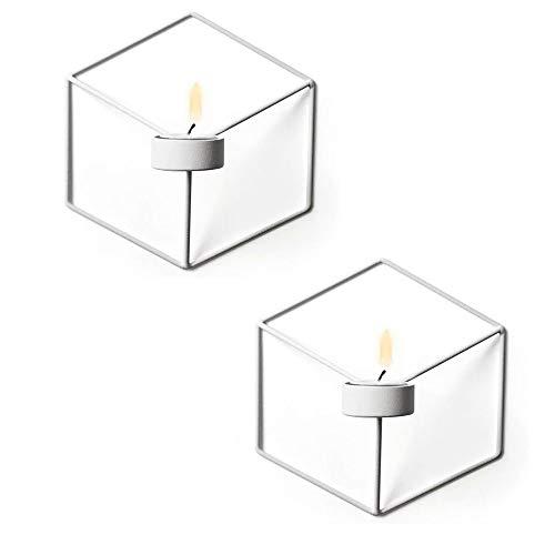 Win-Y Wandteelichthalter Metall Kerzenständer Wandkerzenhalter Kerzen- und Teelichthalter Hängend 2er Set (Weiß)